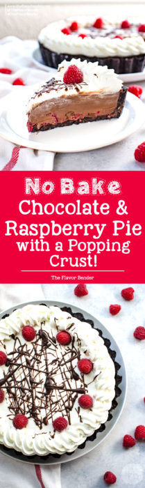 Popping No Bake Chocolate Raspberry Pie -An irresistibly creamy, smooth, and fool-proof dessert with a decadent chocolate pudding filling, with fresh raspberries and a pop rock cookie crust!