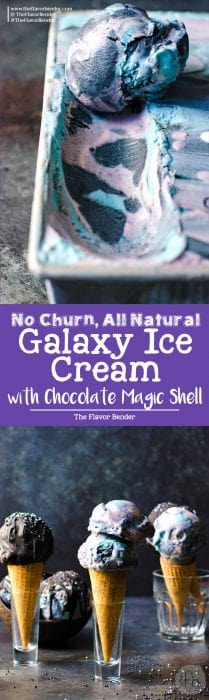 No churn Galaxy Ice cream - made with absolutely no food coloring and with fresh fruits, butterfly pea flower extract, and activated coconut charcoal. With pink, purple, blue and black swirls of mixed berry lemon ice cream and galaxy chocolate magic shell sauce and space funfetti - it's as delicious and magical as it looks!