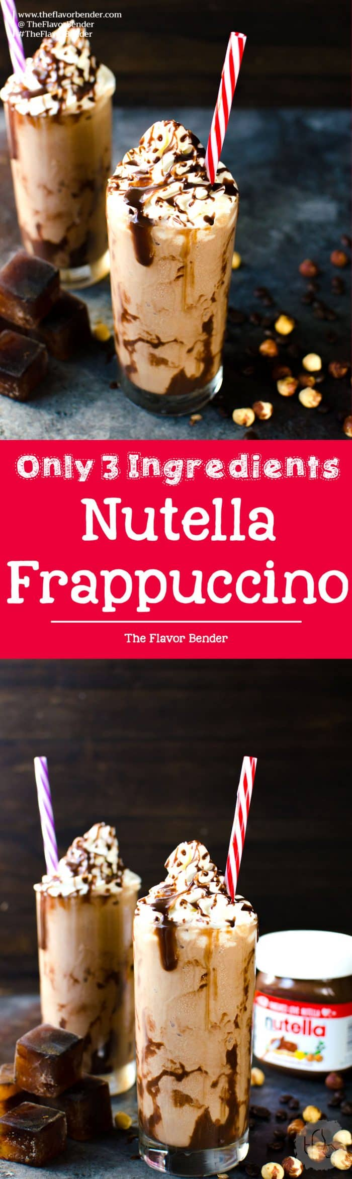 3 ingredient Nutella Frappuccino - This amazing Nutella Coffee Slushie is a cross between an icy frappuccino and a creamy milk shake, but with the added delicious hazelnut cocoa flavor of Nutella and a nice strong hit of coffee! Mornings have never been this good!