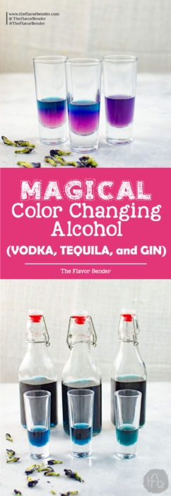 Magical Color Changing Alcohol (Vodka, Gin and Tequila) - wow your friends and family at your next get-together by making color changing magic cocktails with naturally infused color changing alcohol with one (not so) secret ingredient!