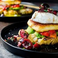 Roasted Cauliflower, Avocado and Fried Halloumi Breakfast with Cherry Salsa -  A gluten free breakfast or brunch meal with tons of delicious flavors! A delicious salty and soft slice of fried Halloumi served with creamy avocados, delicious cauliflower and red pepper and a fresh and herby cilantro mint cherry salsa!