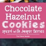 Juniper Berry spiced Chocolate Hazelnut Cookies - these slice and bake chocolate hazelnut cookies areeasy to make, and have a unique bittersweet, chocolatey, nutty, floral flavor profile with a crunchy edge and soft, fudgy center!