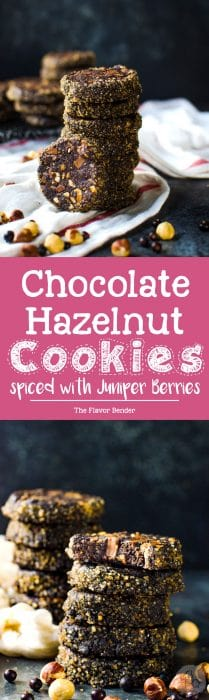 Juniper Berry spiced Chocolate Hazelnut Cookies - these slice and bake chocolate hazelnut cookies are easy to make, and have a unique bittersweet, chocolatey, nutty, floral flavor profile with a crunchy edge and soft, fudgy center!