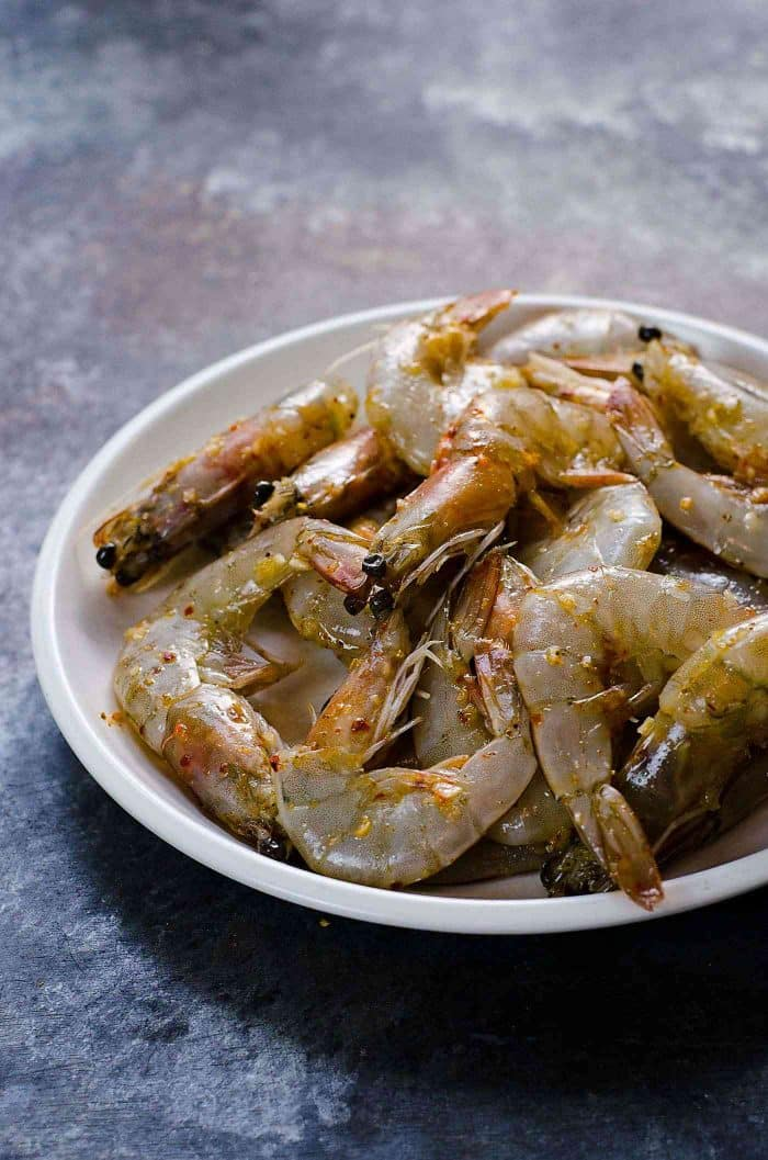 Szechuan Salt and Pepper Shrimp - This recipe works best with head on fresh shrimp, but you can use shrimp without the head as well.