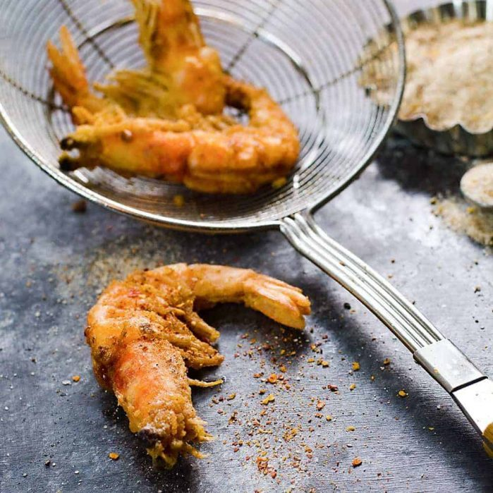 Szechuan Salt and Pepper Shrimp - Crispy and crunchy on the outside, soft and juicy on the inside, these are packed with flavor, and a little kick from the roasted szechuan pepper salt! Serve with sweet chili sauce