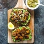 Spicy Cajun Shrimp and Avocado Toast -  a quick, light and delicious weekday lunch or weekend brunch for those busy days! Creamy Avocado Toast topped with backened Cajun spiced shrimp, salsa verde and Cojita