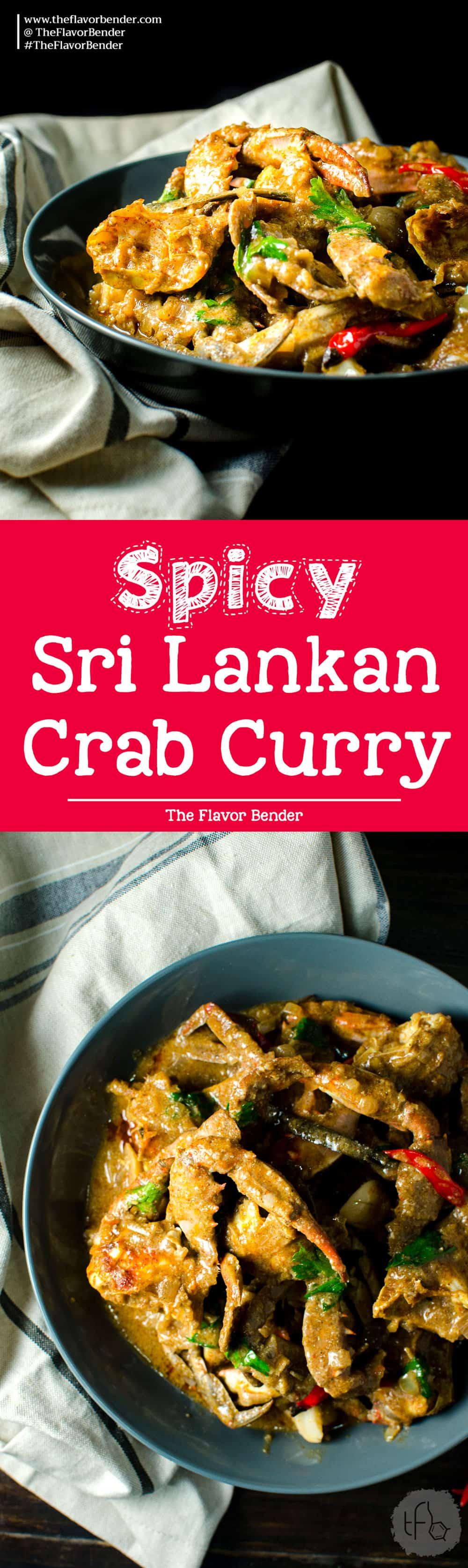 Spicy Sri Lankan Crab Curry - Made with fresh blue swimmers crabs, and an aromatic and flavorful Sri Lankan curry base. It's a delicious and comforting seafood curry that's authentically Sri Lankan.