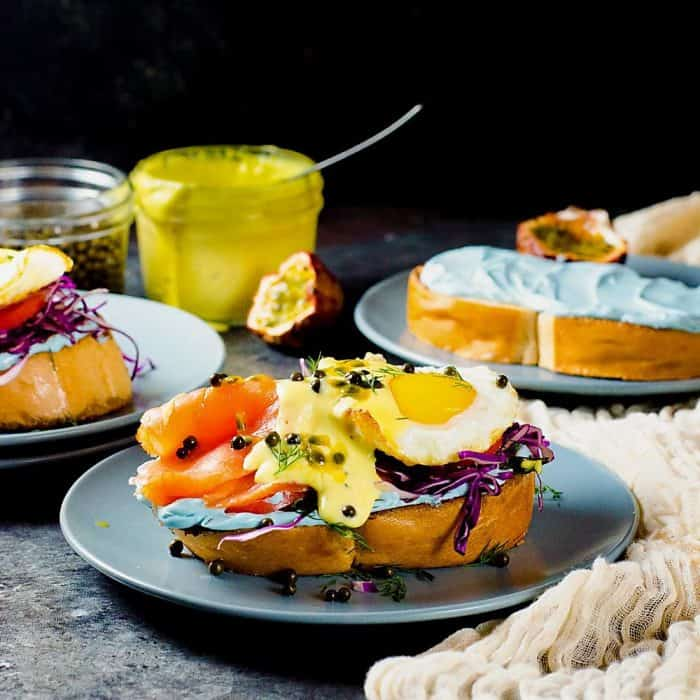 Rainbow Colored Smoked Salmon Toast with Passion fruit Hollandaise Sauce