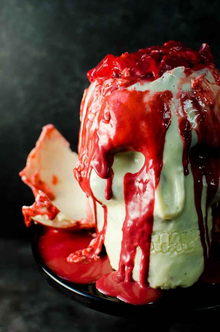 Chocolate Skull Cake with Hidden Strawberry Jello Brain