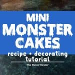 Mini Monster Cakes (Halloween Cakes) - A cake recipe for fudgy Chocolate Sheet cake and a full step by step tutorial to make 5 mini monster cakes that are perfect for Halloween Parties or Monster themed parties.