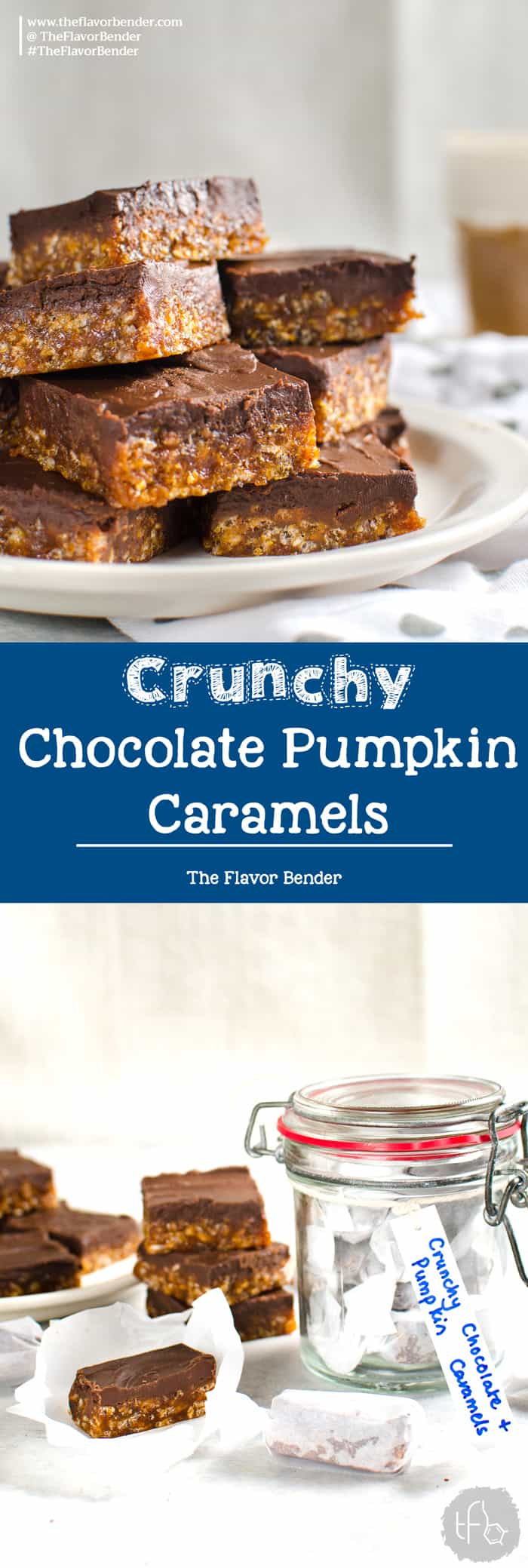 Crunchy Chocolate Pumpkin Caramels -Soft, chewy, crunchy and full of amazing pumpkin and bittersweet chocolate flavor and cruchy rice krispies. Perfect for gift-giving, especially for the holidays