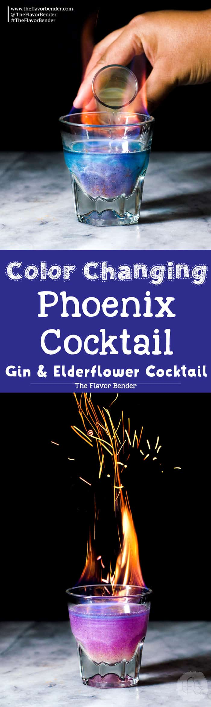 Phoenix Cocktail - A Gin and Elderflower Cocktail that is a Color Changing Shimmery Cocktail! Made with Butterfly pea Flower infused gin and a fruity, tangy, floral and sweet lemon Elderflower syrup.