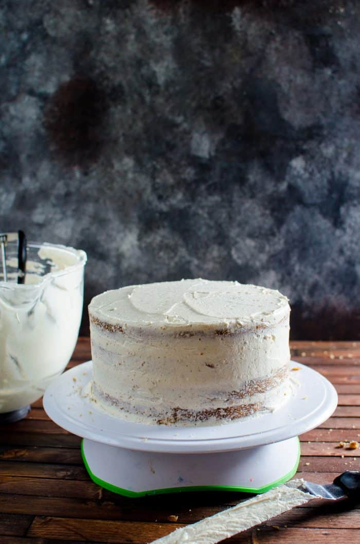 Spiced Bourbon Butter Pecan Cake with Brown Butter Maple Frosting - Crumb coating of the brown butter maple frosting.
