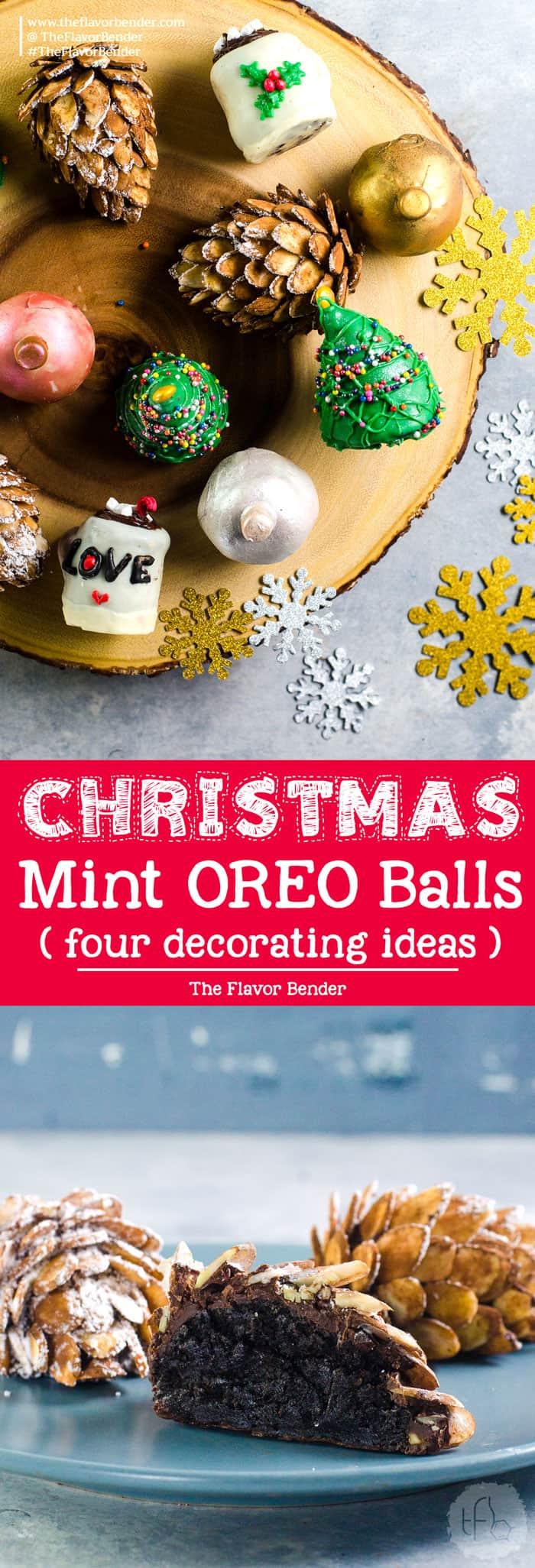Christmas OREO balls - Fun and easy decoration ideas for these Mint Oreo Truffles! Christmas baubles truffles, Hot cocoa mug truffles, pine cone truffles, and Christmas tree truffles. Perfect for gifting for the holiday season!