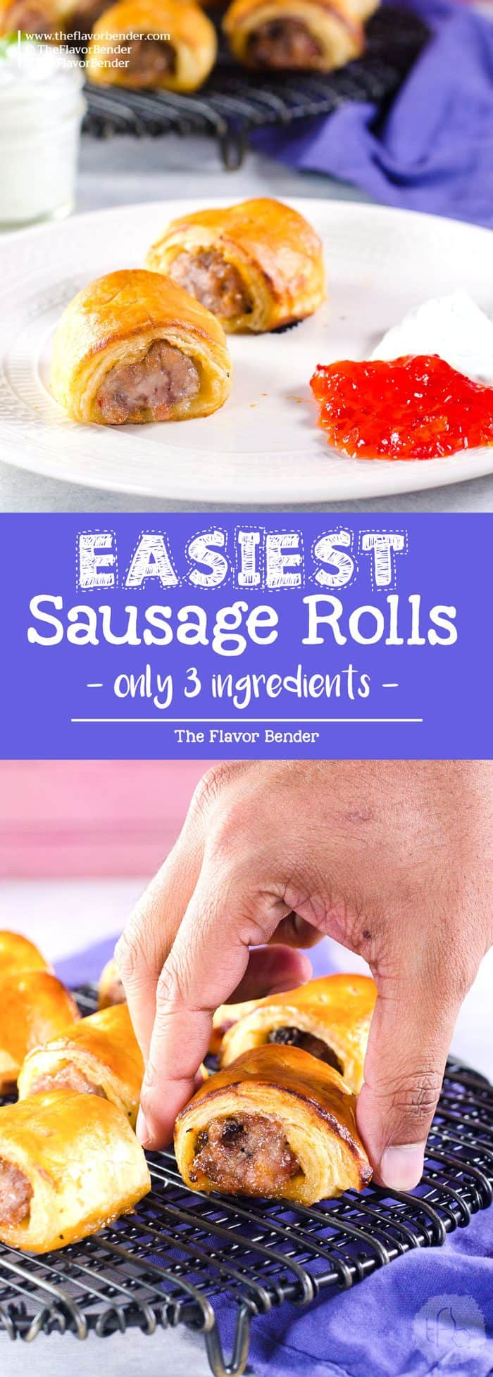 Easy Sausage Rolls with just 3 ingredients -You can customize these sausage rolls easily with your favorite flavor pairings, and they can be made ahead of time and frozen for later too. Easy pork sausage rolls that are perfect for holiday entertaining, as an appetizer or as a brunch or lunch snack!