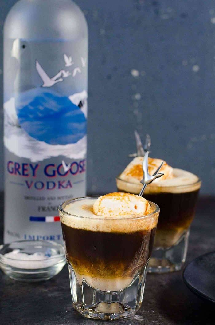 Campfire White Russian Cocktail - A Grey Goose L'espresso Martini with a twist is the perfect after dinner cocktail. A delicious coffee cocktail that is a mashup of a Coffee martini and a White Russian.