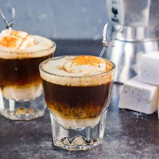 Campfire White Russian Cocktail - AGrey Goose L'espresso Martini with a twist is the perfect after dinner cocktail. A delicious coffee cocktail that is a mashup of a Coffee martini and a White Russian.