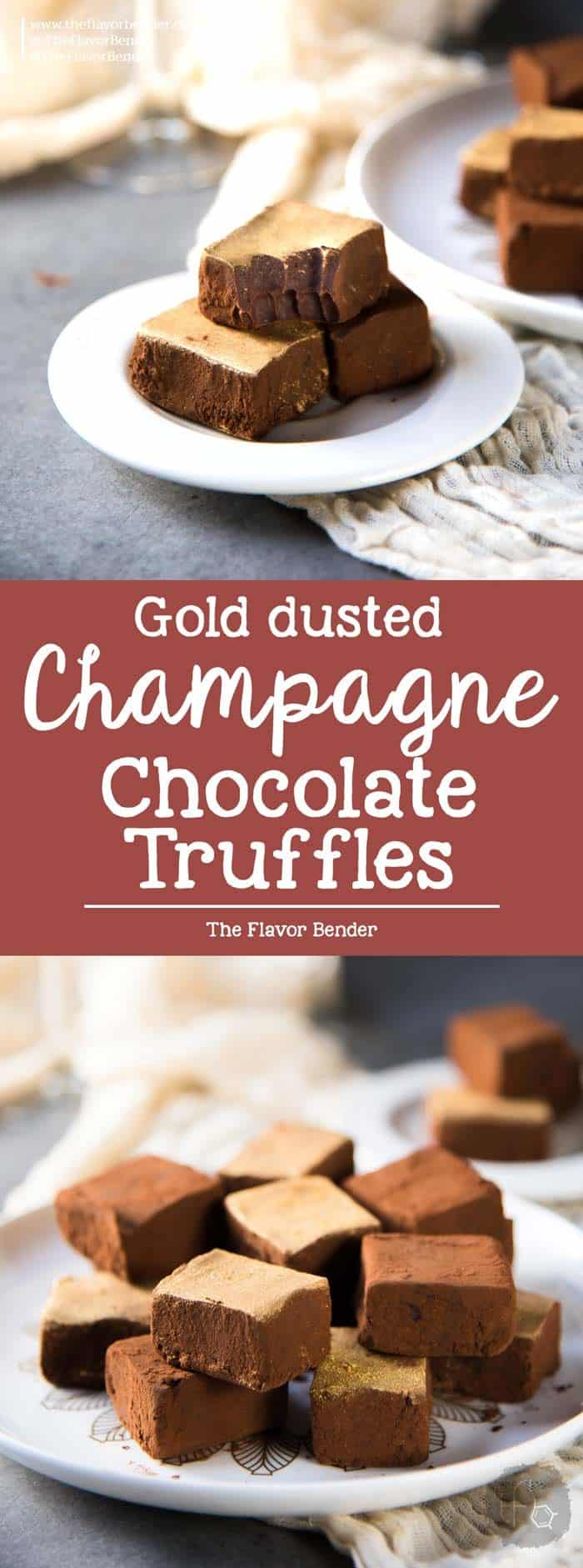 Chocolate Champagne Truffles - melt in your mouth soft, velvety, decadent, fruity truffles that easy and less messy to make. Dusted with cocoa powder and gold luster dust. Perfect for celebrations.
