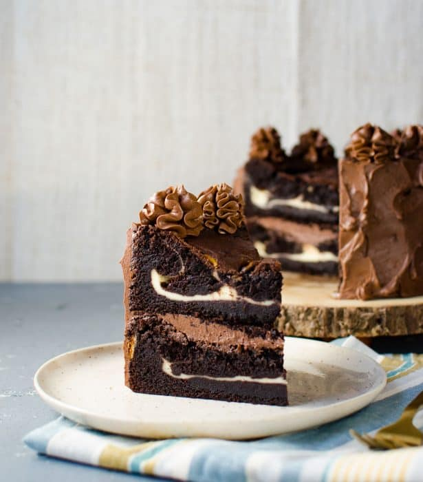Cheesecake stuffed Devils Food Cake - From Secret Layer Cakes Cookbook