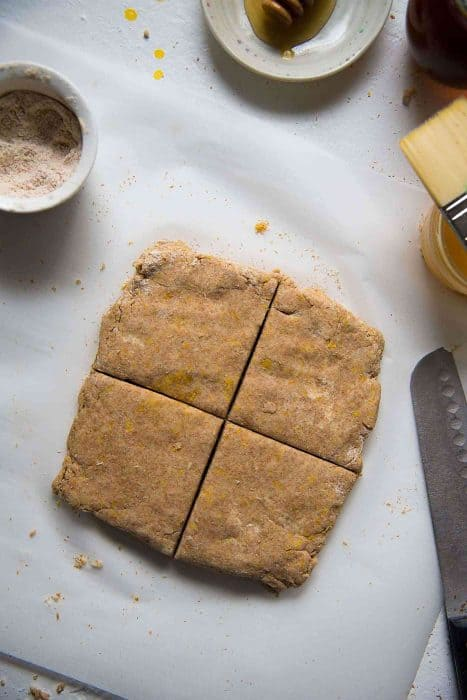 Honey Orange Wheat Scones - You can shape the dough into a square or a round and cut it into triangles, wedges or squares.