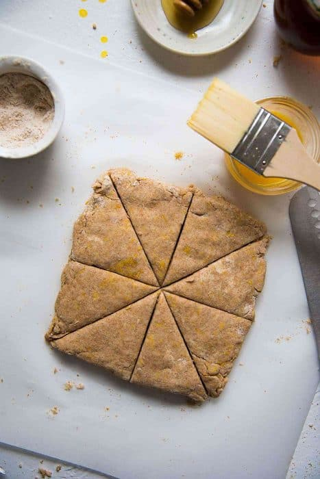 Honey Orange Whole Wheat Scones - Cut the dough into 8 pieces with a clean knife.