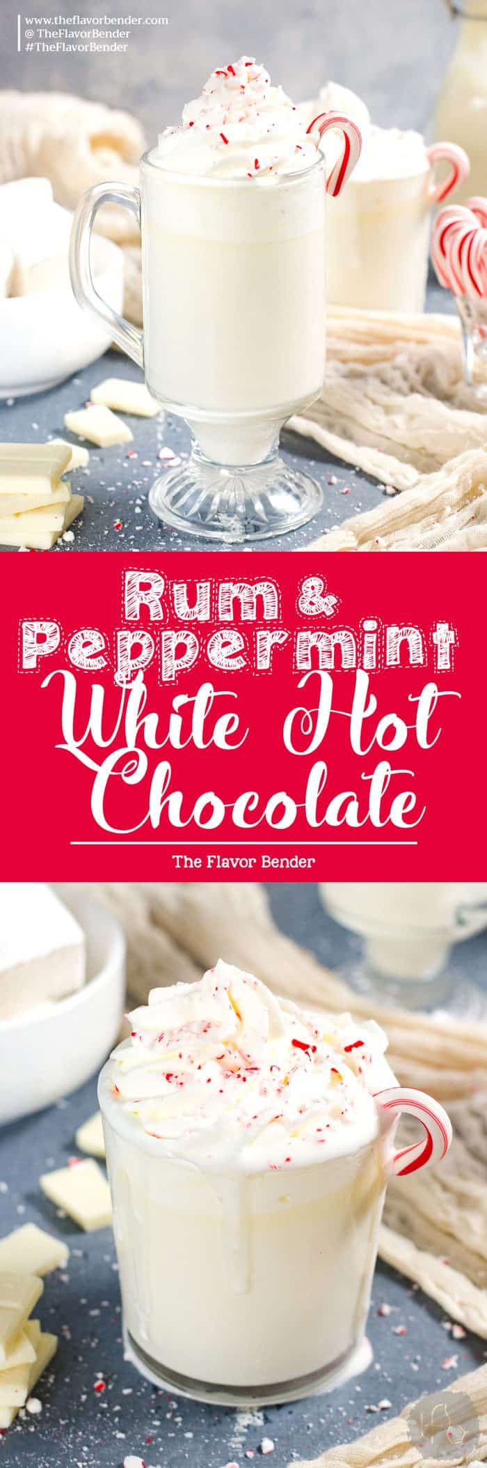 Rum and Peppermint White Hot Chocolate - A boozy twist on the classic with refreshing peppermint flavor! So creamy and not too sweet and perfect for winter!