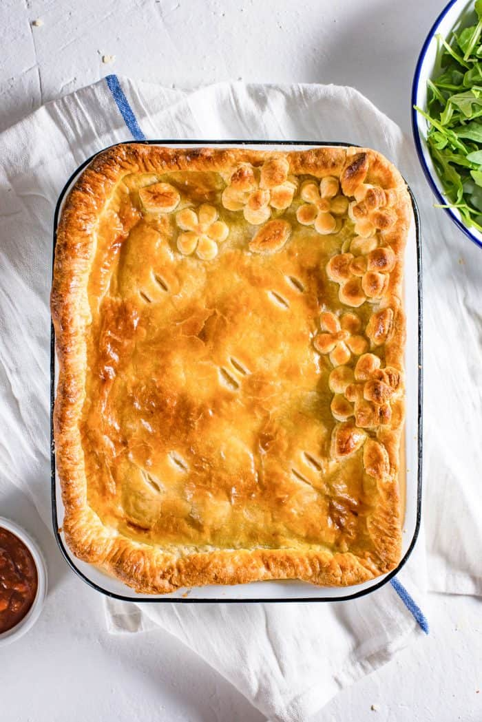 Ultimate Bacon and Egg Pie - A classic breakfast pie with Leeks, Cheese, Bacon and Eggs. Use extra puff pastry to create a design on top. Be creative and have fun with the designs, and don't forget the egg wash to make the crust shine.