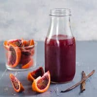 Vanilla Blood Orange Syrup - An easy recipe for homemade Vanilla Blood Orange Syrup that is perfect for desserts, cocktails and non alcoholic homemade soda!