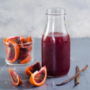 Vanilla Blood Orange Syrup -An easy recipe for homemade Vanilla Blood Orange Syrup that is perfect for desserts, cocktails and non alcoholic homemade soda!