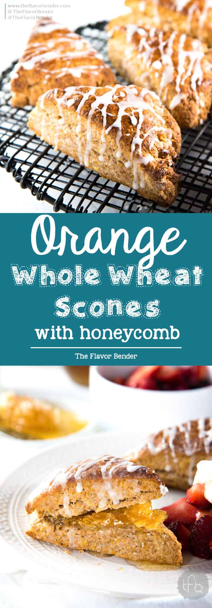 Orange Whole Wheat Scones -Nutty, fragrant and delicious with a soft and tender crumb. Flavored with orange zest, orange blossom water and honey and perfect for breakfast. [ad]  #DonVictorHoney #HappyHealthyHoney
