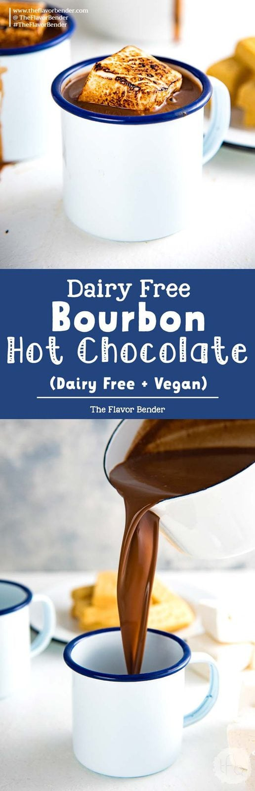 Dairy Free Bourbon Hot Chocolate - a luscious, rich decadent dairy free french hot chocolate with a splash of bourbon to warm you up from the inside! Vegan and dairy free.