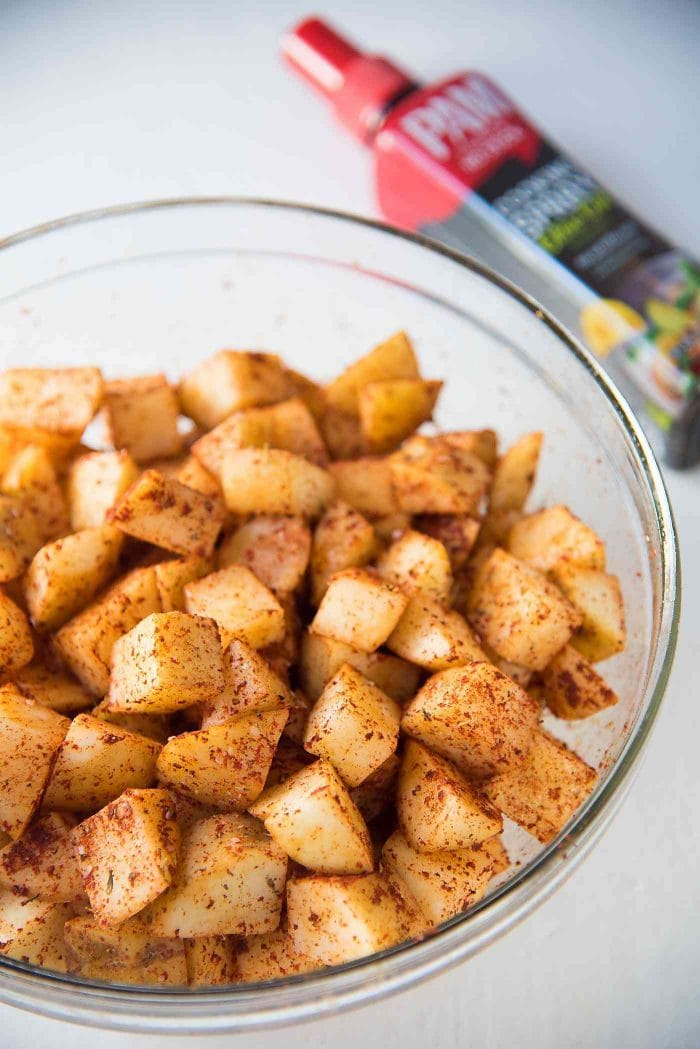 Oven roasted Breakfast potatoes - Toss the potatoes with the spice mix before roasting the potatoes.