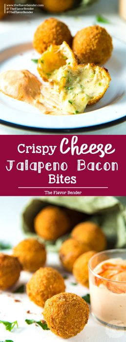 Crispy Cheese Jalapeno Bacon Bites - These creamy, crunchy, flavorful fried cheese balls are perfect for game day snacking or as any party appetizer! Like Bacon Jalapeno Poppers, but even better!
