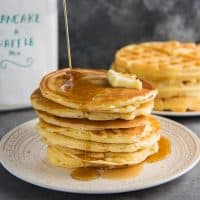 Homemade Pancake Mix / Waffle Mix - The best pancake or waffle mix from scratch that makes fluffy, light pancakes or crispy, light waffles! Far better than store-bought instant pancake mixes. Easy and fool proof. Serve with butter and maple syrup.