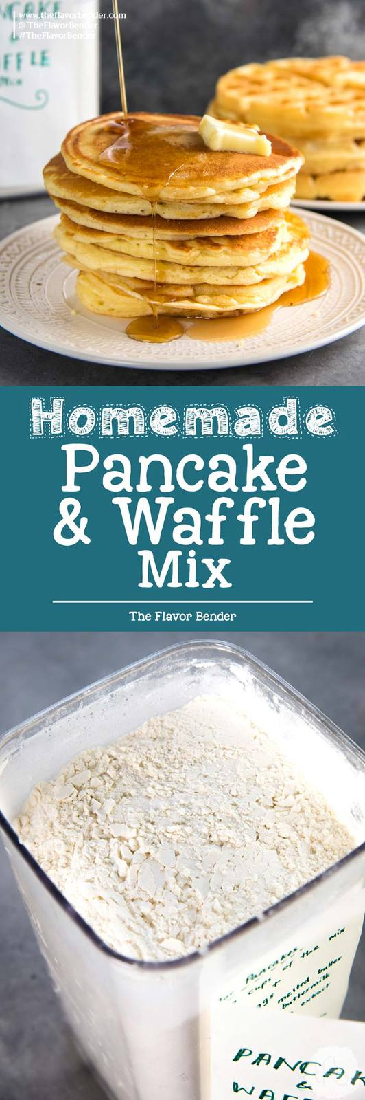 Homemade Pancake Mix / Waffle Mix - The best pancake or waffle mix from scratch that makes fluffy, light pancakes or crispy, light waffles! Far better than store-bought instant pancake mixes. Easy and fool proof, you can have pancakes any day!