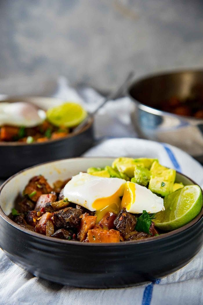 Steak and Sweet Potato Hash - A wholesome, and nutritious breakfast or brunch. Paleo and Whole30 approved too. Serve with a poached egg and avocado.