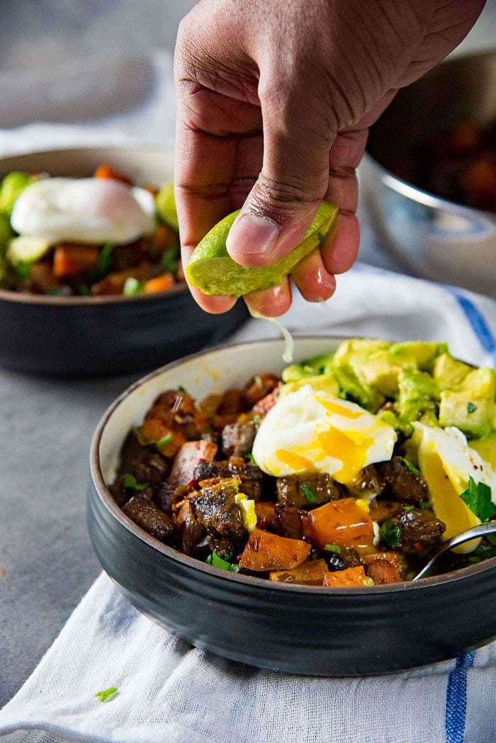 Steak and Sweet Potato Hash - A wholesome, and nutritious breakfast or brunch. Paleo and Whole30 approved too. Serve with a lime wedge, because the lime brings out all the flavors.