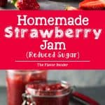 Homemade Strawberry Jam with reduced sugar and NO store-bought pectin! Made with overripe strawberries, apples and sugar, this Jam is the perfect breakfast spread