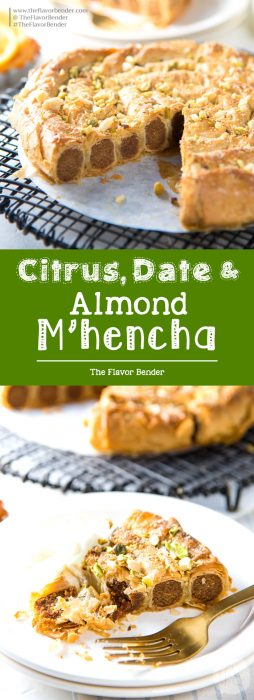 Citrus, Date and Almond M'hencha with Orange blossom honey syrup - A delicious and exotic Moroccan delicacy! A sweet date and almond paste wrapped in honey syrup soaked filo pastry.  It tastes just as amazing as it looks!