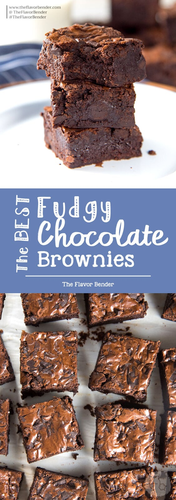 The Best Fudgy Chocolate Brownies - Fudgy brownies made with cocoa powder with chunks of real chocolate! With detailed tips on how to make perfect fudgy cocoa brownies everytime. #ChocolateBrownies #CocoaBrownies #FudgyBrownies #ChewyBrownies