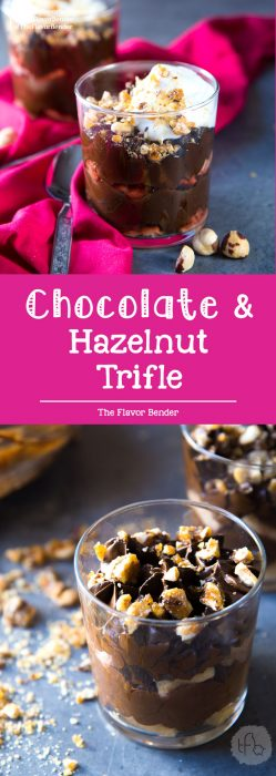 Chocolate Hazelnut Trifle -Layers of silky smooth hazelnut liqueur flavored chocolate mousse, and hazelnut liqueur soaked ladyfingers, topped with crunchy hazelnut praline and whipped cream