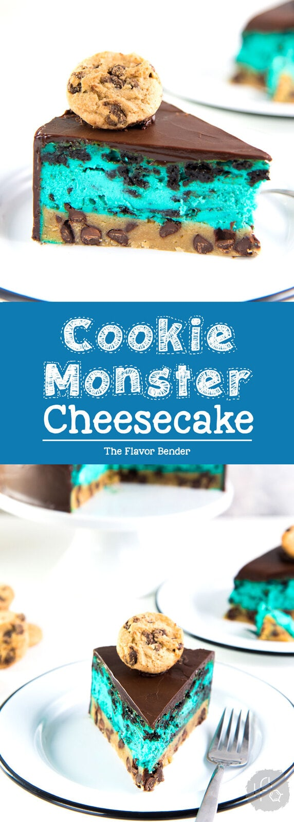 Cookie Monster Cheesecake - A fudgy chewy chocolate chip cookie blondie, topped with a creamy cookie and cream cheesecake loaded with Oreos and coated with a layer of chocolate ganache. Perfect dessert for cookie lovers. From the Secret Layer Cakes cookbook. #Cheesecake #SecretLayerCakes #CookiesandCream #Blondie