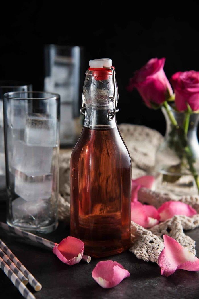 Naturally colored rose water syrup. For an ombre version you can use food coloring or grenadine syrup.