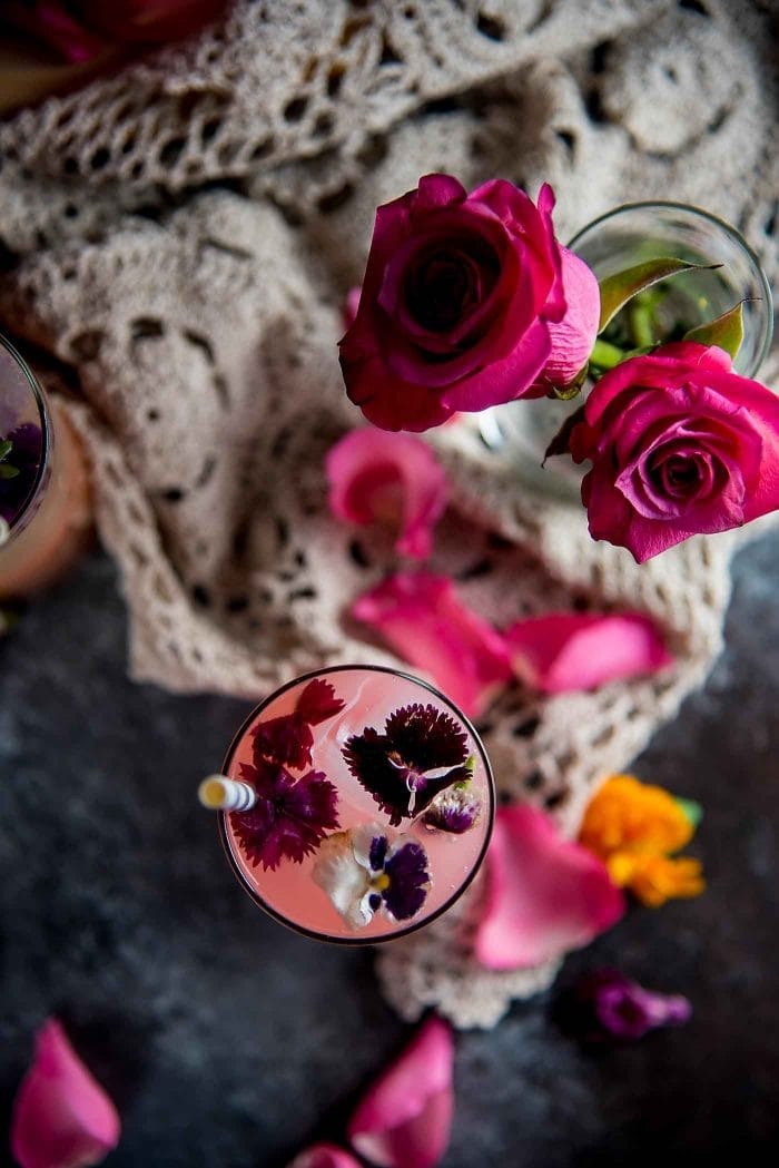Floral Ginger Rose Fizz - A gorgeous spicy and floral mocktail made with Rose syrup, lemon juice, ginger and club soda! Perfect for Spring and Summer celebrations and especially Valentine's Day.