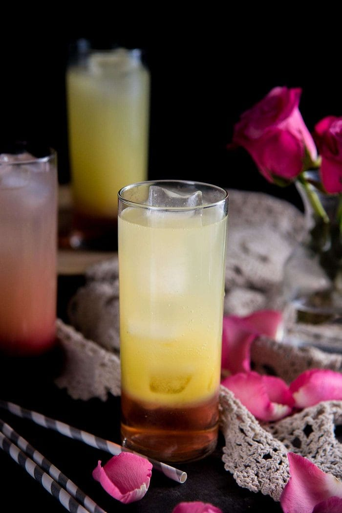 Ginger Rose Fizz - a layered soda drink with rose, ginger and lemon. Drink in it's layered form, without being mixed.