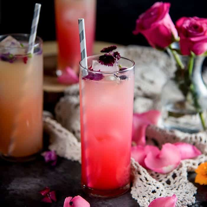 Blushing Ginger Rose Fizz (A Rose Mocktail + Cocktail)