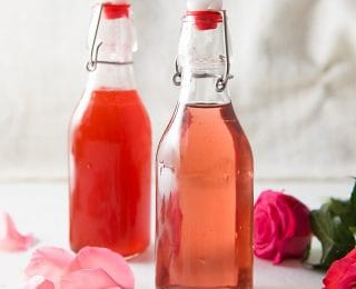 Rose Syrup for cocktails and other drinks, like Falooda (Rose syrup milk shake). Vanilla Rose syrup made with rose water, perfect for drinks and other desserts.