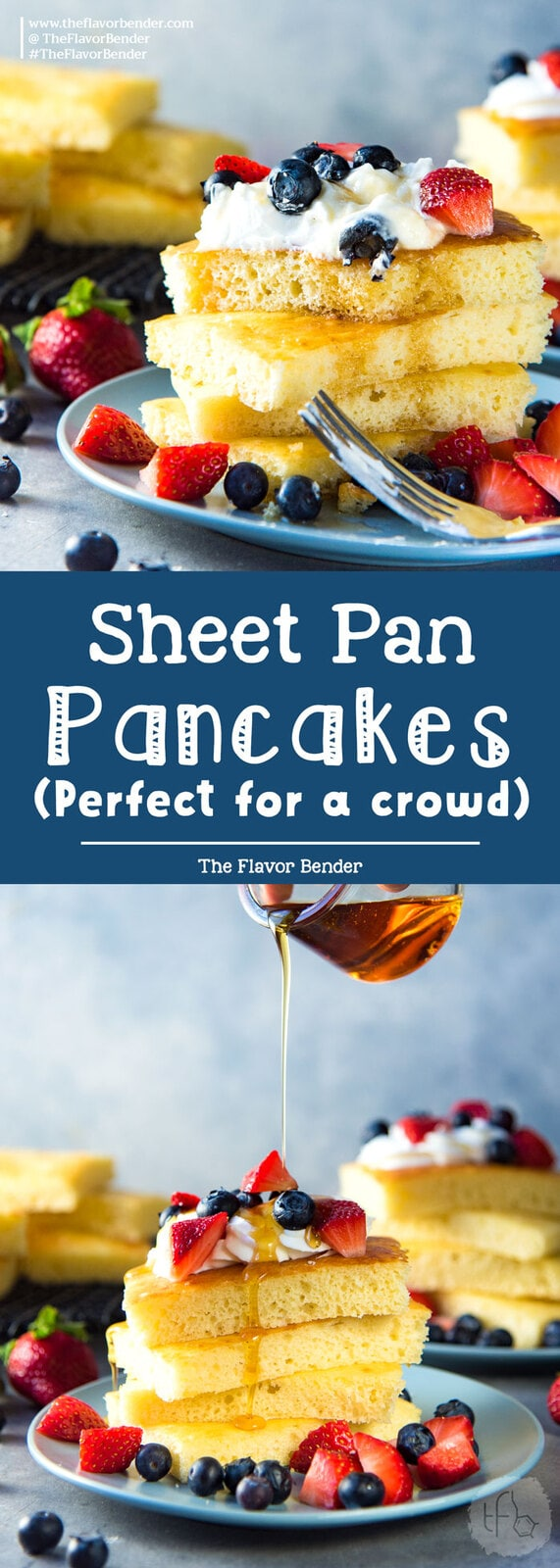 Sheet pan pancakes - Soft light and fluffy oven baked pancakes for breakfast or brunch. Perfect for a crowd, and easy to make.