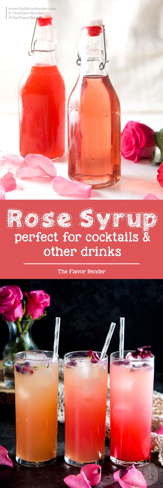 Rose Syrup (and Vanilla Rose syrup) -  made with rose water for cocktails and other drinks, like Falooda (Rose syrup milk shake) and other desserts too. #Rosewater #Floralcocktails #Rosesyrup #Falooda #FloralDrinks