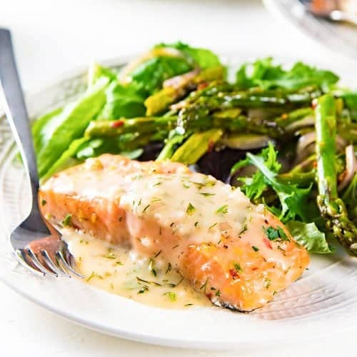 Slow Roasted Salmon With Lemon Butter Sauce The Flavor Bender
